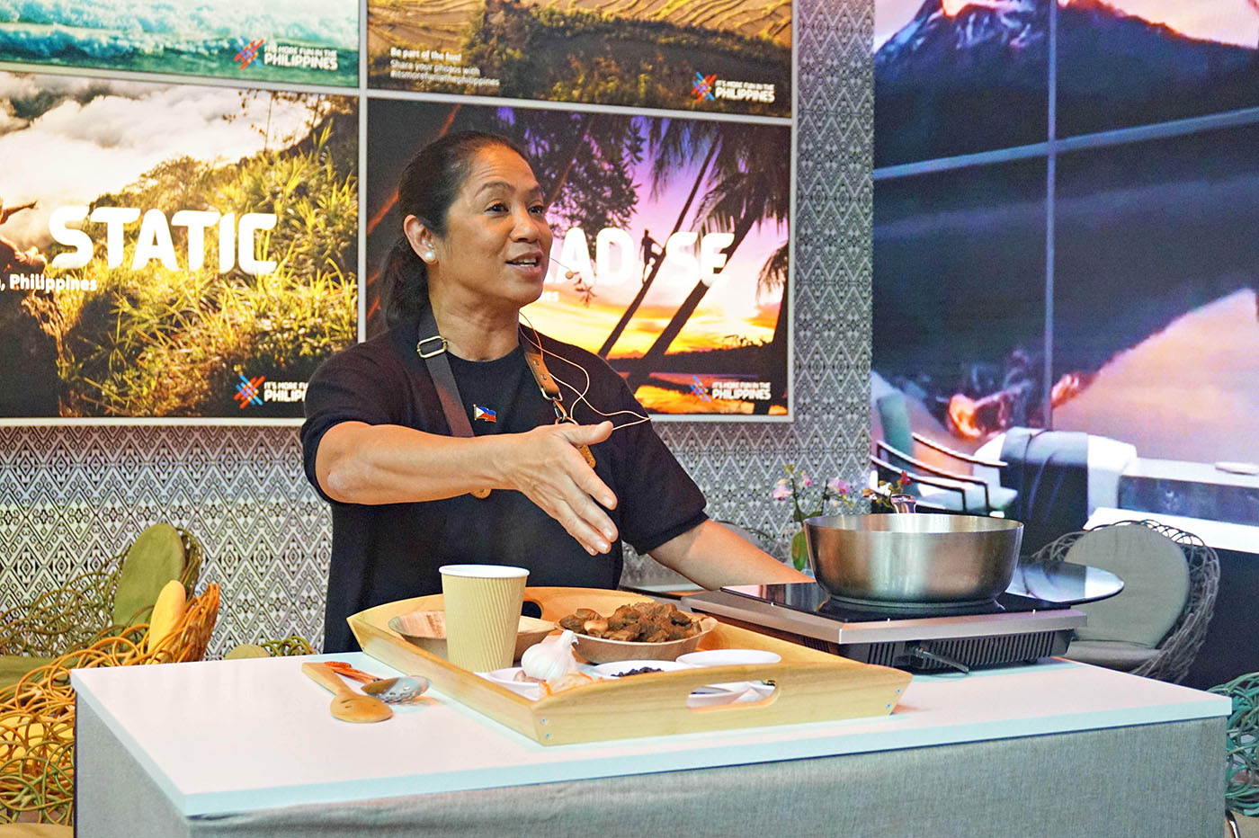 FILIPINO DISHES. Gaita Fores makes a demonstration of Filipino food during the trade fair in Berlin.
