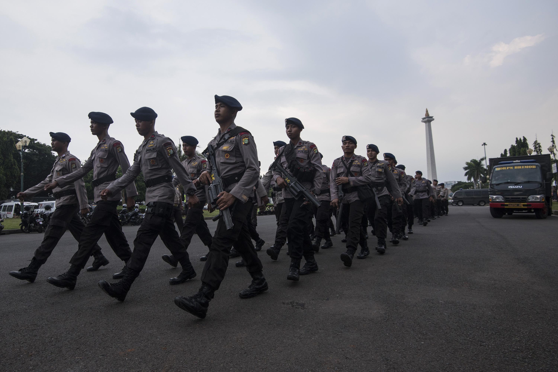 Sebanyak 5.630 personel Brimob diperbantukan ke Jakarta untuk meningkatkan pengamanan ibu kota menyusul rencana aksi demonstrasi pada 4 November 2016. Foto oleh Sigid Kurniawan/Antara