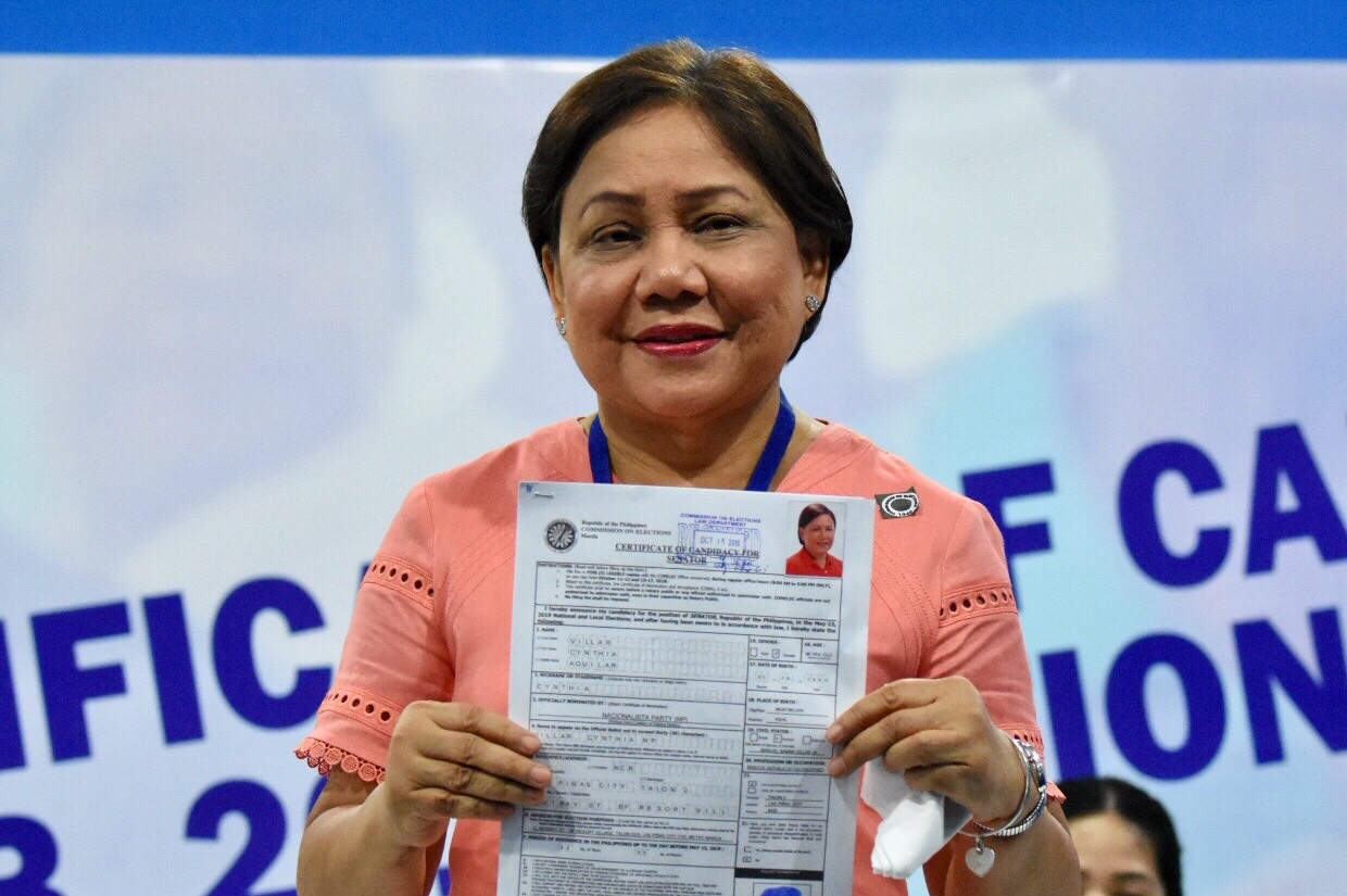 Sen. Cynthia Villar, Nationalista Party. Oct. 15, 2018. Accompanied by her husband, former Senator Manny Villar; daughter Camille and son Paolo. Photo by Angie de Silva/Rappler