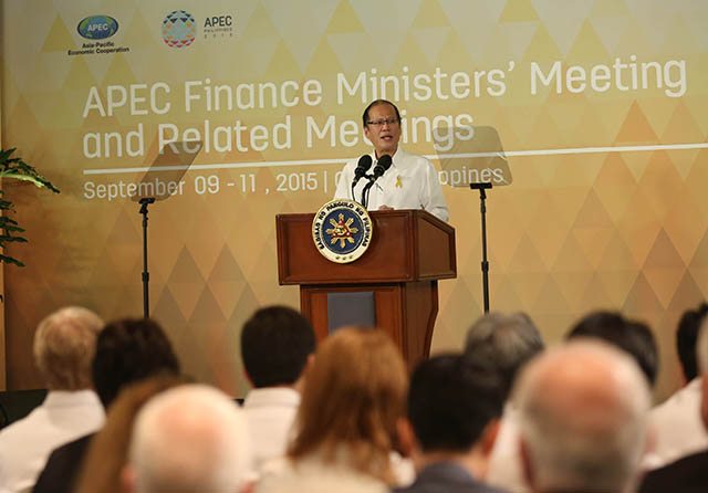 SPEECH. President Benigno S. Aquino III delivers his speech during the Asia-Pacific Economic Cooperation (APEC) Finance Ministersu2019 Meeting and Related Meetings at the Rosal Ballroom of the Shangri-La Mactan Resort and Spa in Lapu-Lapu City, Cebu on Thursday, September 10, 2015. Photo by Lauro Montellano, Jr. / Malacau00f1ang Photo Bureau