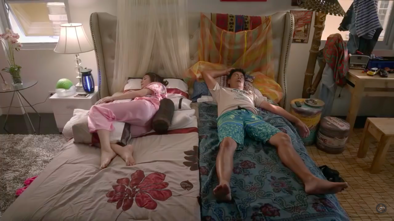DIFFERENT LIFESTYLES. Andrea and Ron's upbringings are different, based on their bed spaces