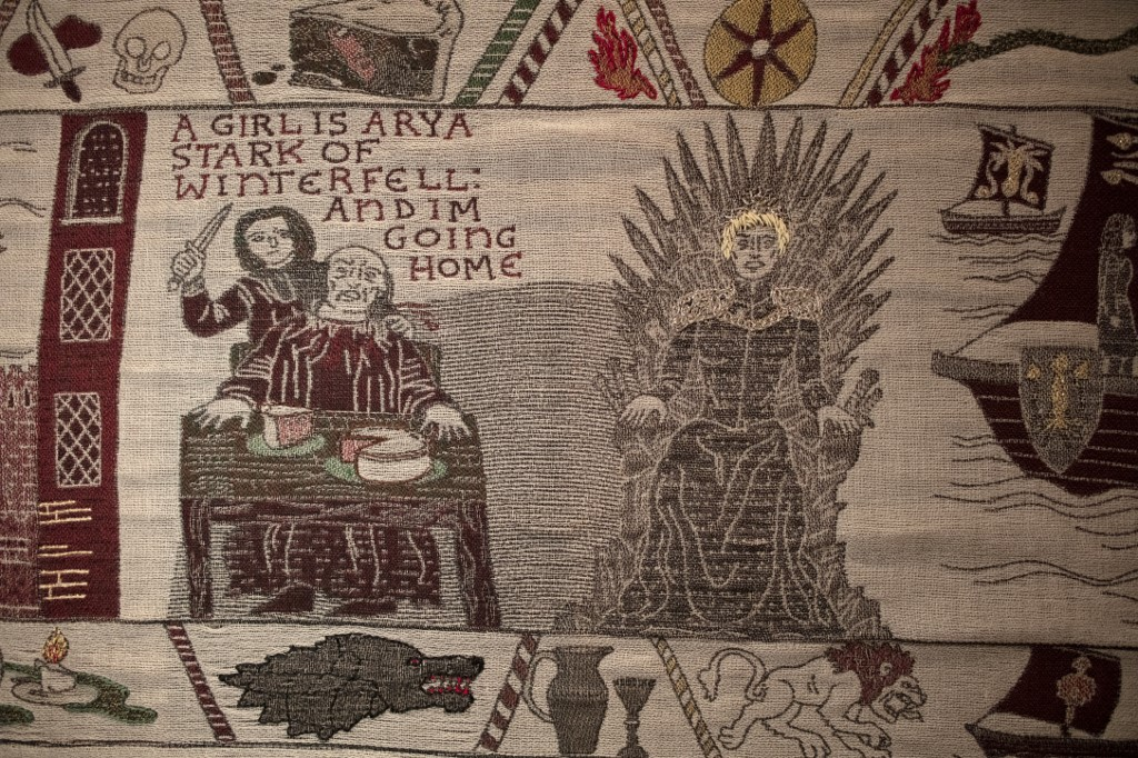 WINTERFELL. Embroidered scenes on the tapestry depicting the hit television series 'Game of Thrones.' Photo by Paul Faith / AFP