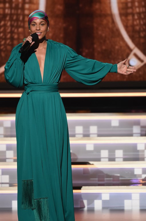 HOST. Alicia Keys speaks during the 61st Annual GRAMMY Awards at Staples Center on February 10, 2019 in Los Angeles, California. Photo byKevin Winter/Getty Images for The Recording Academy/AFP