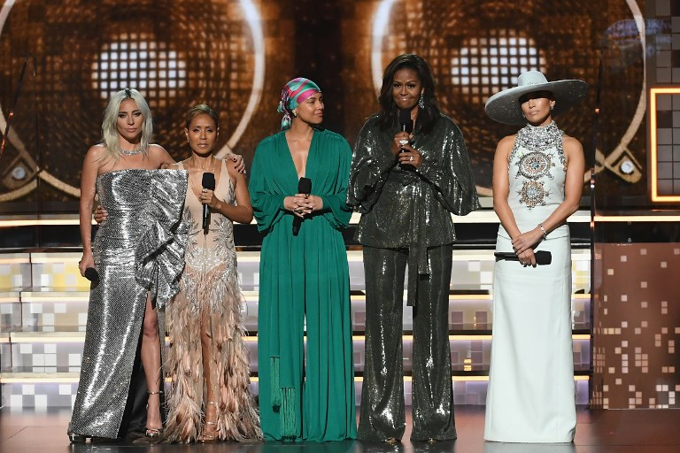 WOMEN ONSTAGE. Lady Gaga, Jada Pinkett Smith, Alicia Keys, Michelle Obama, and Jennifer Lopez speak onstage during the 61st Annual GRAMMY Awards at Staples Center on February 10, 2019 in Los Angeles, California. Photo by Kevin Winter/Getty Images for The Recording Academy/AFP