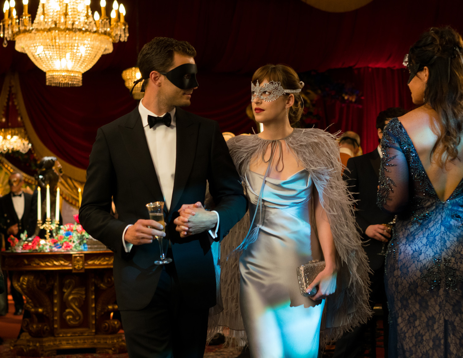 MONIQUE LHUILLIER. Dakota Johnson as Anastasia Steele wears a custom Monique Lhuillier gown in 'Fifty Shades Darker.' Photo courtesy of United International Pictures