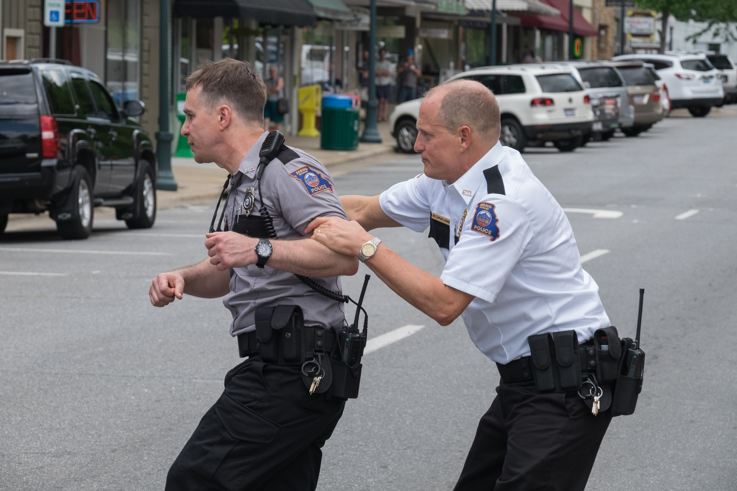 POLICE HELL. Sam Rockwell and Woody Harrelson in a scene from 'Three Billboards Outside Ebbing, Missouri.'