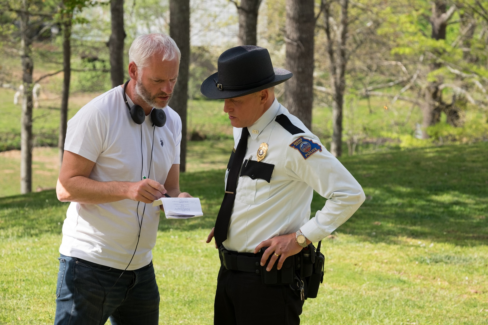 SCENE TAKES. Director-writer Martin McDonagh and actor Woody Harrelson on the set of 'Three Billboards Outside Ebbing, Missouri.'