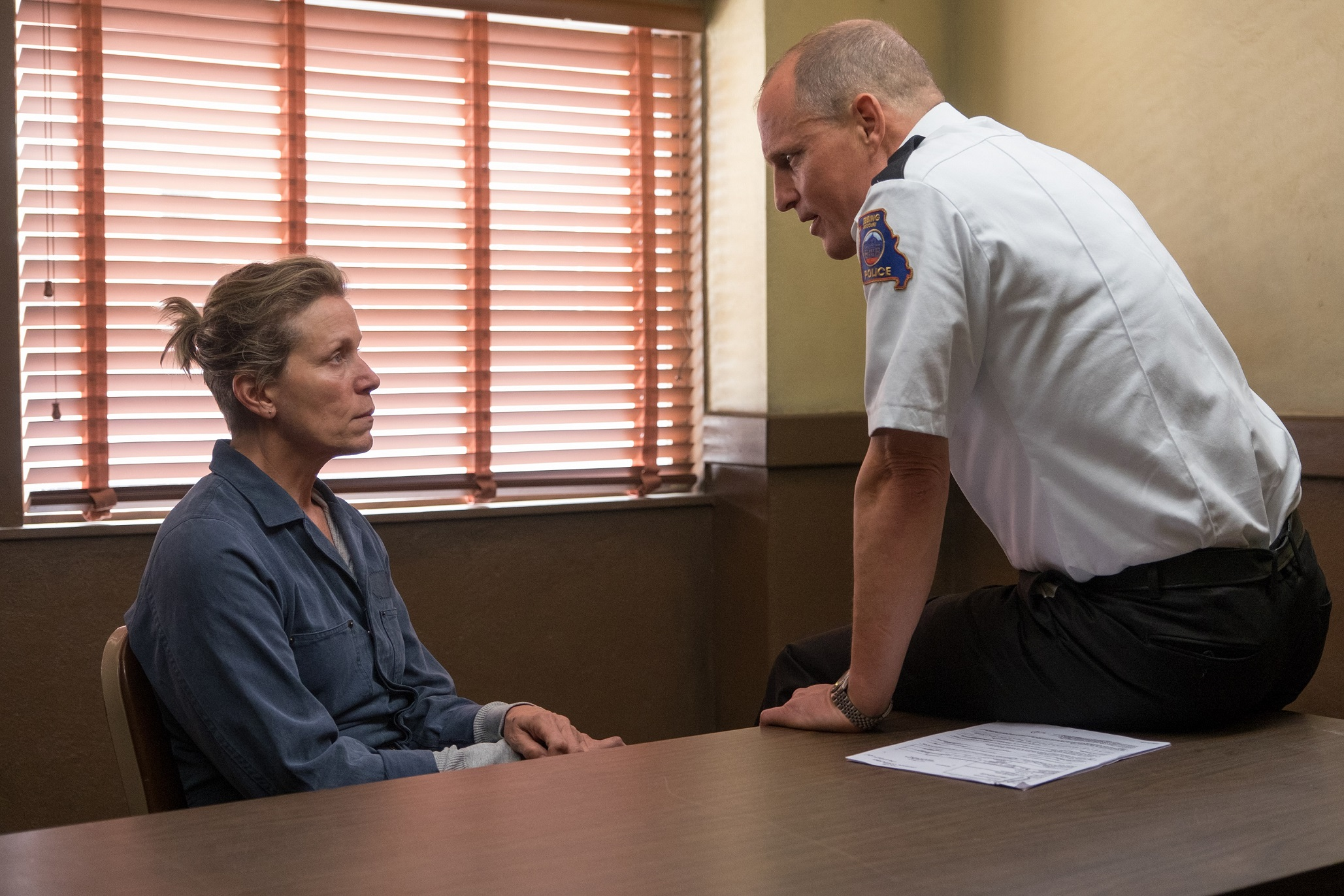 ONE-ON-ONE TALK. Frances McDormand and Woody Harrelson in a confrontation scene for 'Three Billboards Outside Ebbing, Missouri.'