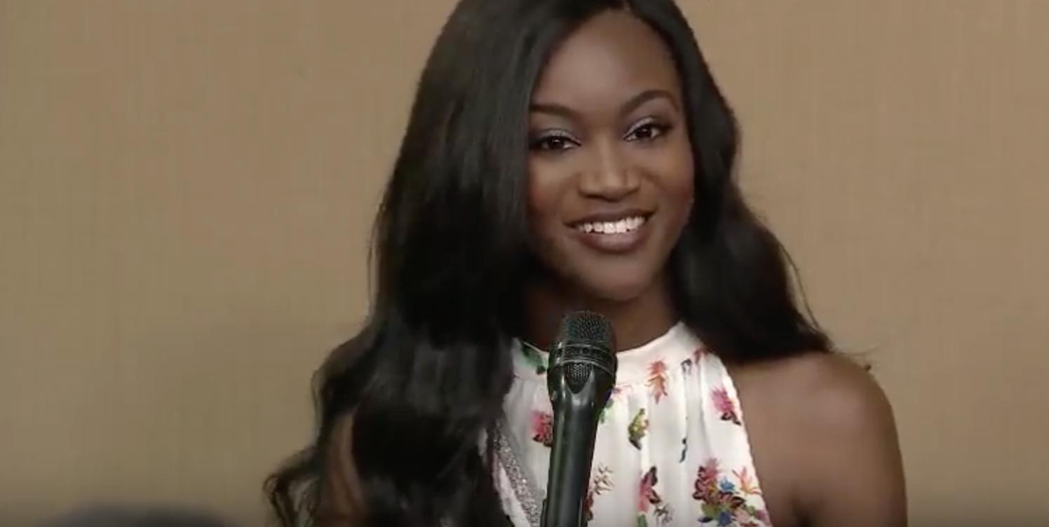 Miss USA Deshauna Barber. Screengrab from YuoTube/RTVMalacanang