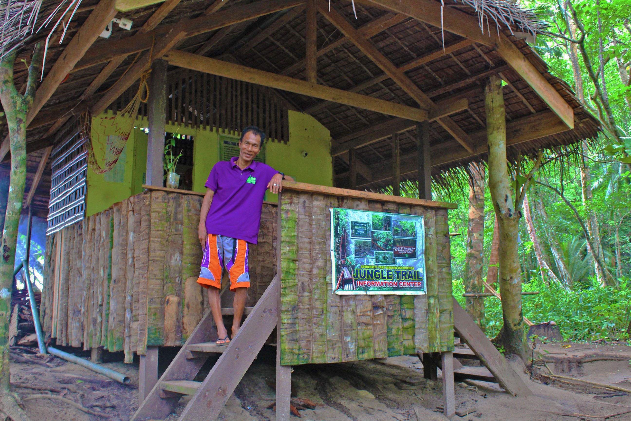 INFORMATION CENTER. A Tagbanua community park warden greets visitors with a smile as they pass by the Jungle Trailu00e2u0080u0099s information center at trailhead. Photo by Keith Anthony Fabro