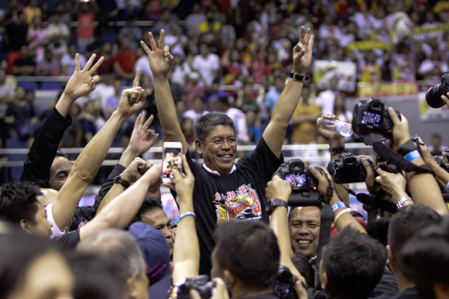Coach Leo Austria gets a well-deserved victory ride. Photo by Czeasar Dancel/Rappler