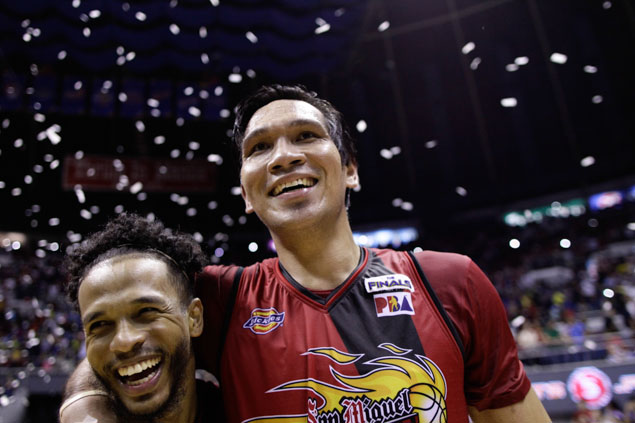 This conference's Best Player June Mar Fajardo hugs Finals MVP Chris Ross. Photo by Czeasar Dancel/Rappler