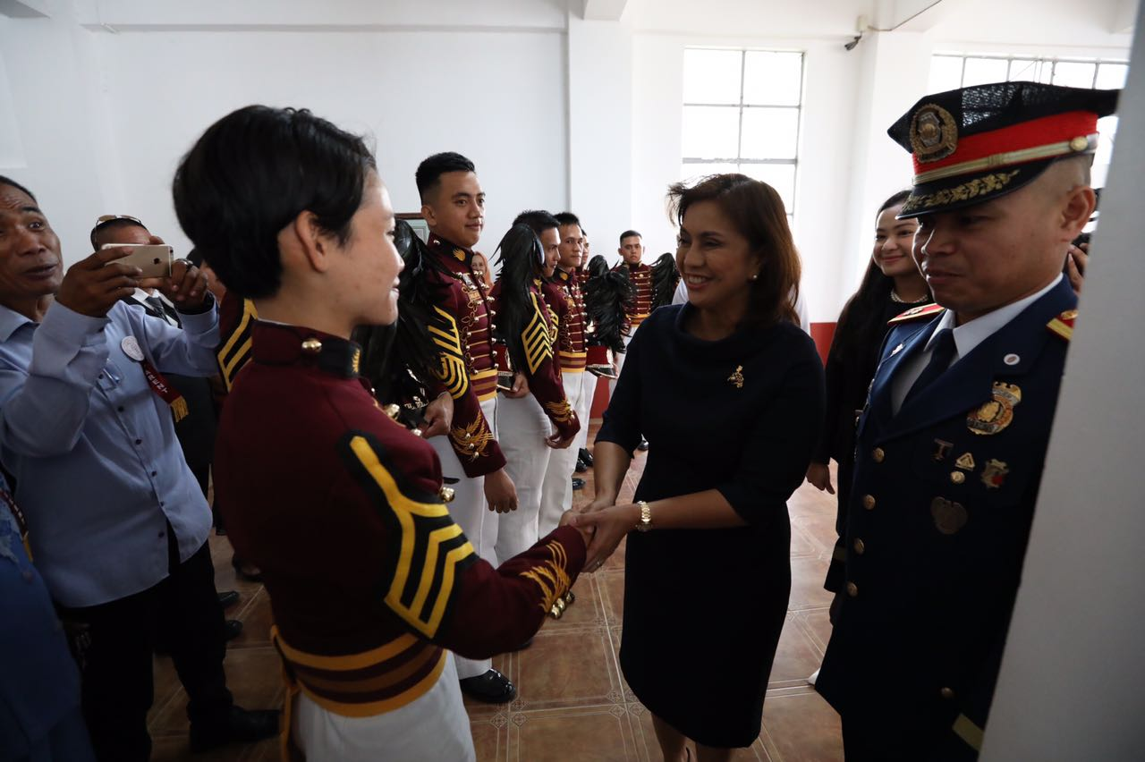 WOMEN ON TOP. Maysy Cataquiz meets Vice President Leni Robredo before the PNPA graduation rites on March 24, 2017. Photo from the Office of the Vice President