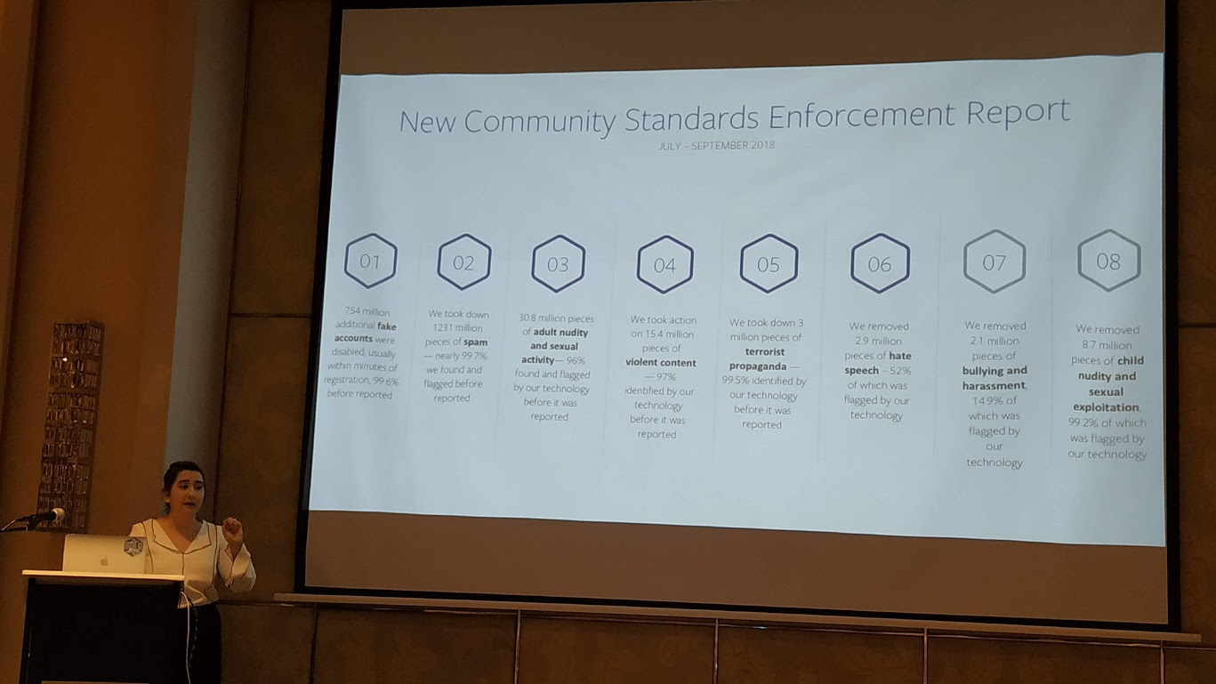 COMMUNITY STANDARDS. Sheen Handoo, Facebook's public policy manager, shows the many areas for which content moderation is done. Photo by Gelo Gonzales/Rappler