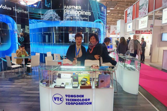 PROMOTING PH TECH. Yongdenu2019s Mila Sy and Commercial Counsellor Althea Antonio at the Partner Philippines pavilion during the Electronica Fair 2018. Photo by Carol Ramoran/Rappler