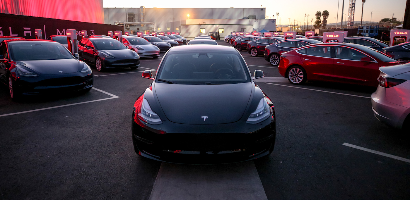 READY FOR THE ROAD. The first batch of the Tesla Model 3 cars ready for delivery, July 28, 2017. Image courtesy Tesla Motors