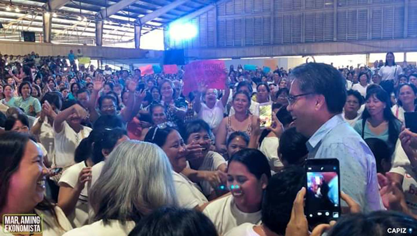 BAILIWICK. Senatorial candidate Mar Roxas speaks to supporters in Roxas City, Capiz, on February 12, 2019. Photo from Roxas' Facebook page