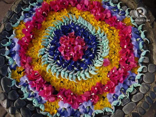 BURSTS OF COLOR. Bakeru2019s Hill has several flower art displays like this, and even stone mosaic art
