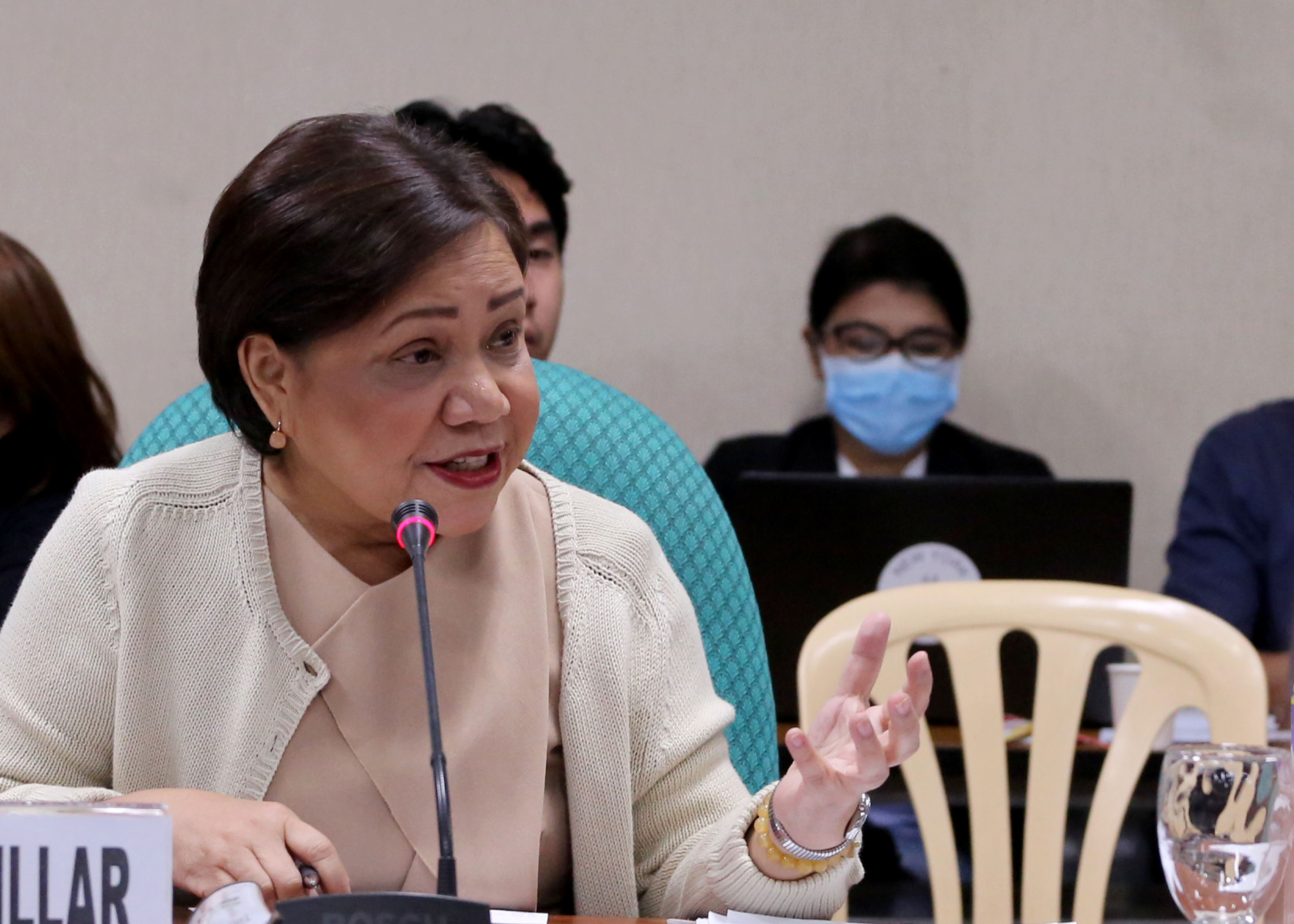 GRANNY OR GODMOTHER? Senators tease their colleague Senator Cynthia Villar as they called her 'grandmother Earth,' which was later corrected to 'godmother Earth.' File photo