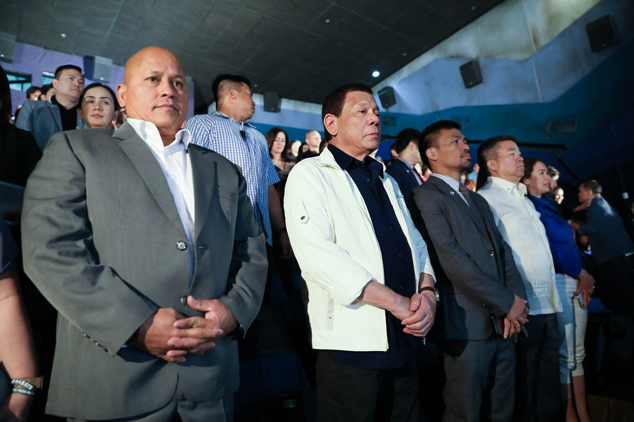 THE GODFATHER. President Rodrigo Duterte attends the premiere night of 'Bato The Movie: The General Ronald dela Rosa Story.' Malacau00f1ang photo