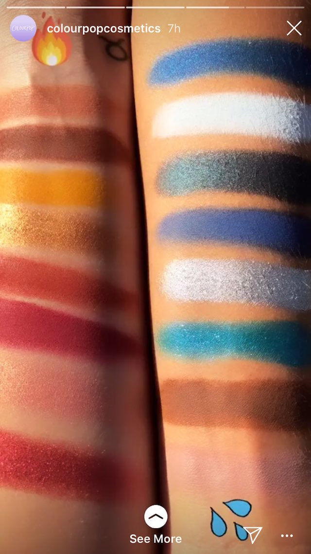 LIT AND WET. Bretman Rock's ColourPop collection comes in two colorways: warm tones, and cool shades. Screenshot from Instagram.com/colourpopcosmetics