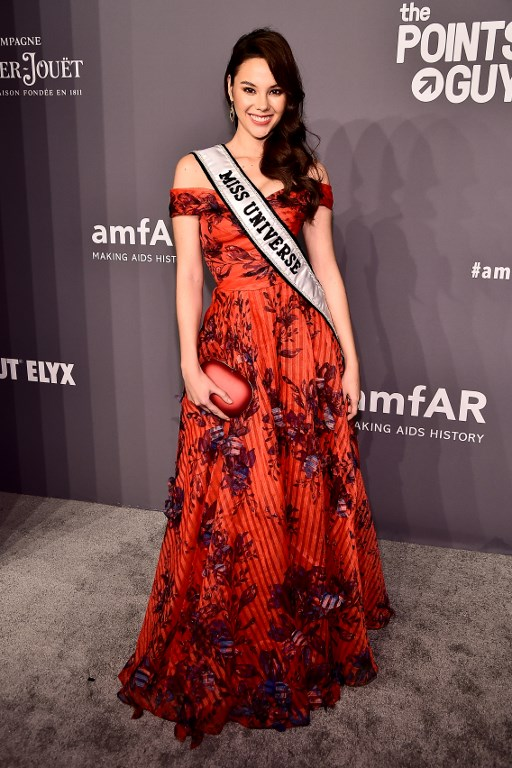 amfAR. Catriona Gray attends the amfAR New York Gala 2019 at Cipriani Wall Street on February 6, 2019 in New York City.  File photo by Theo Wargo/Getty Images/AFP
