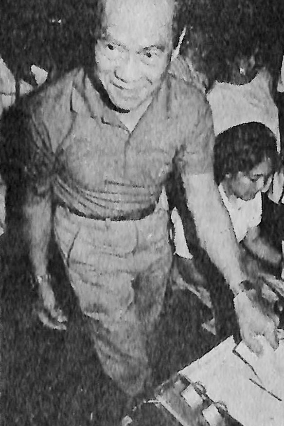 MARCOS LOYALIST. Arturo Tolentino votes during the snap elections. Photo from the Presidential Museum and Library