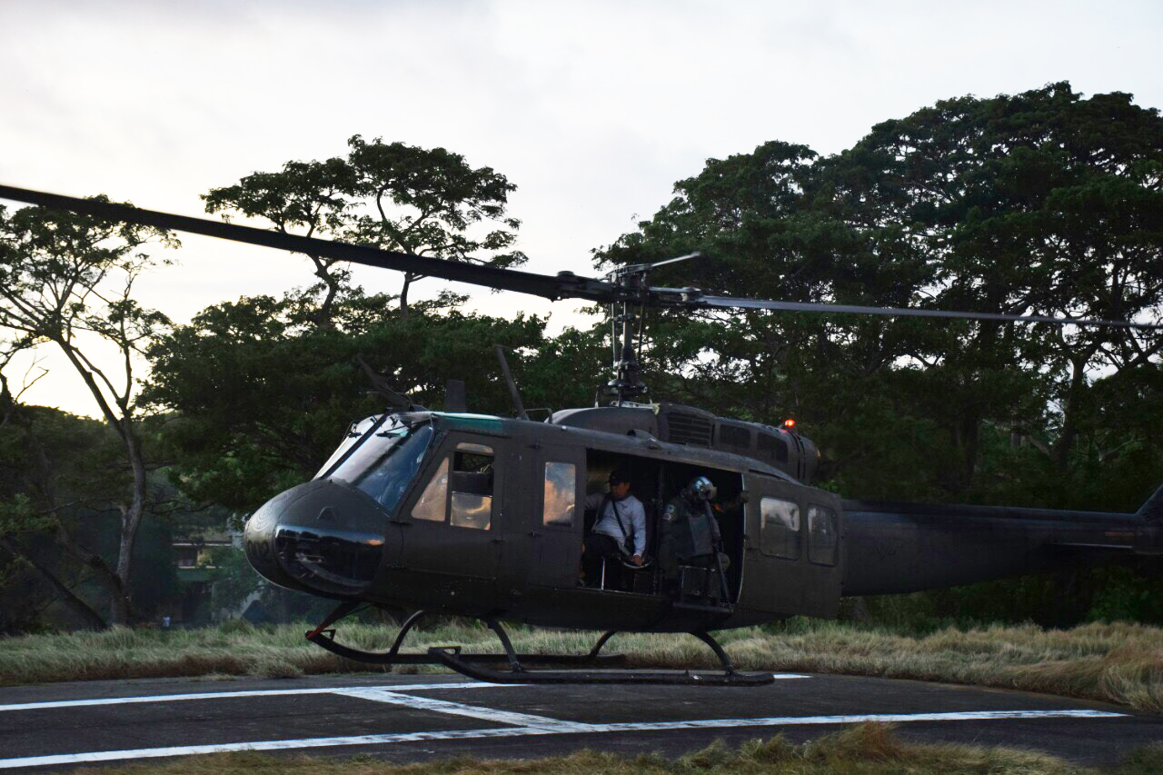 GOING HOME. The freed Indonesians are put on a military chopper and flown from Sulu. Photo from Philippine Military