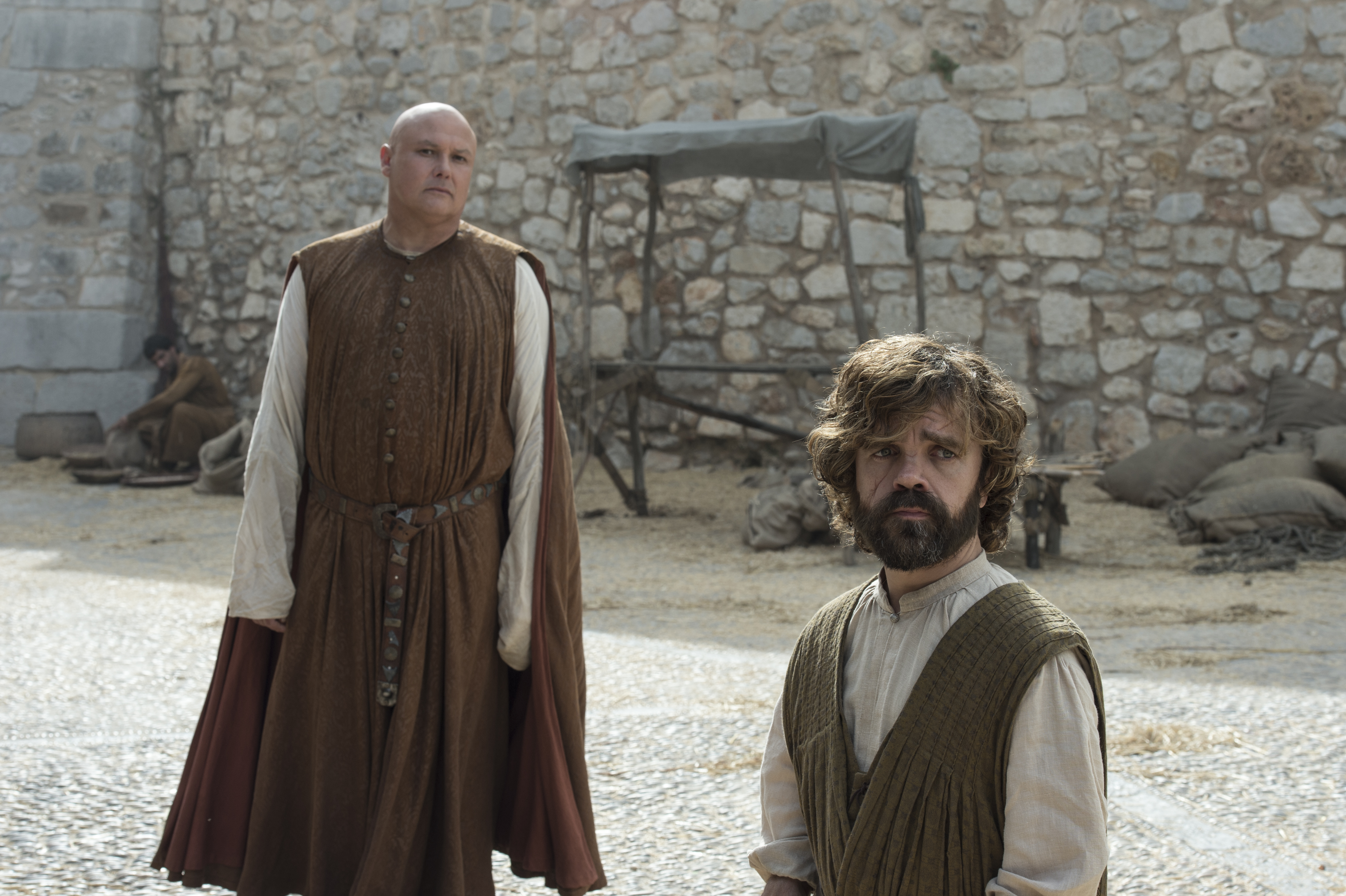 Conleth Hill as Varys and Peter Dinklage as Tyrion Lannister. Photo by Macall B. Polay/HBO