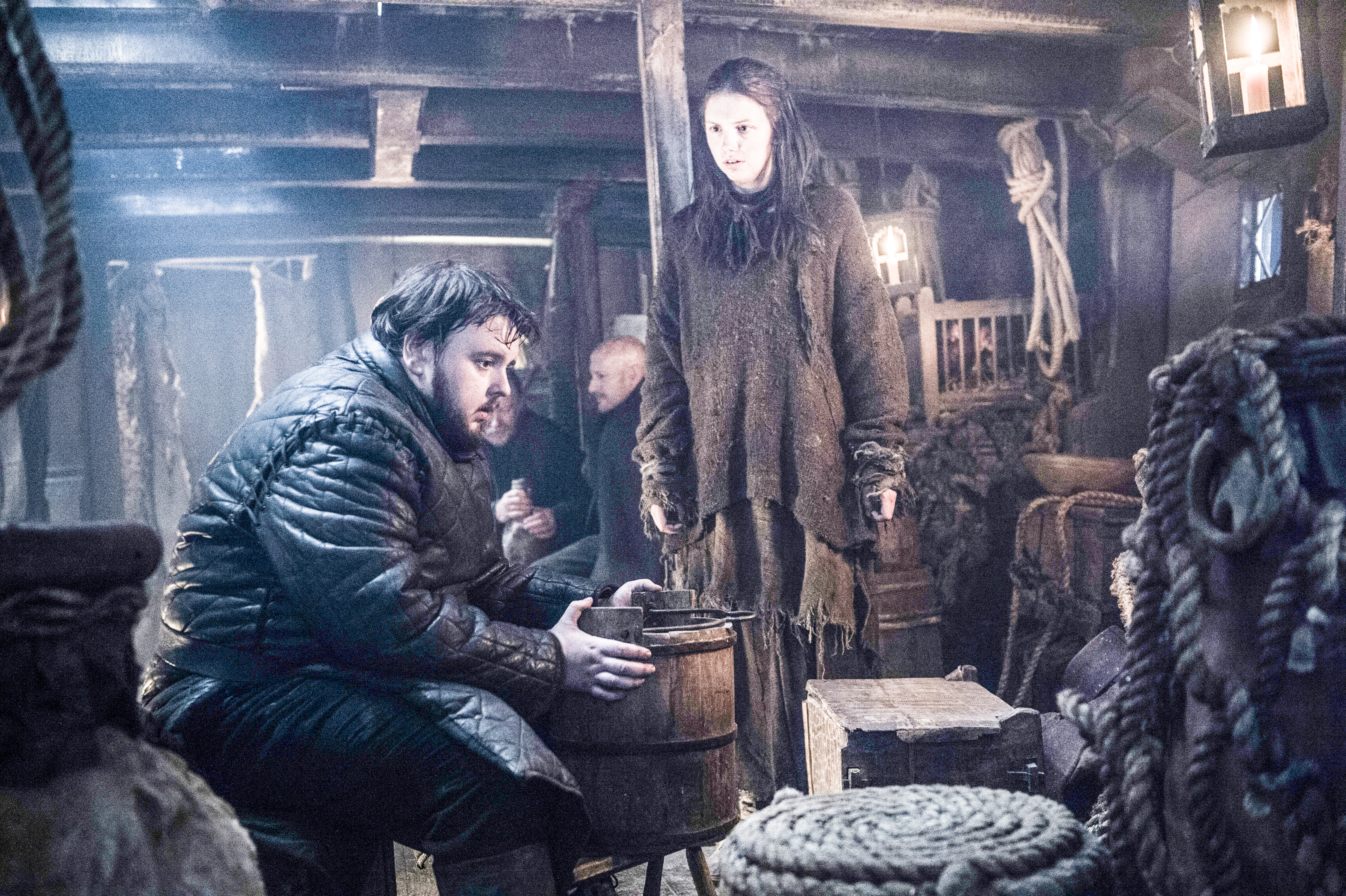 John Bradley-West as Samwell Tarly and Hannah Murray as Gilly. Photo by Helen Sloan/HBO