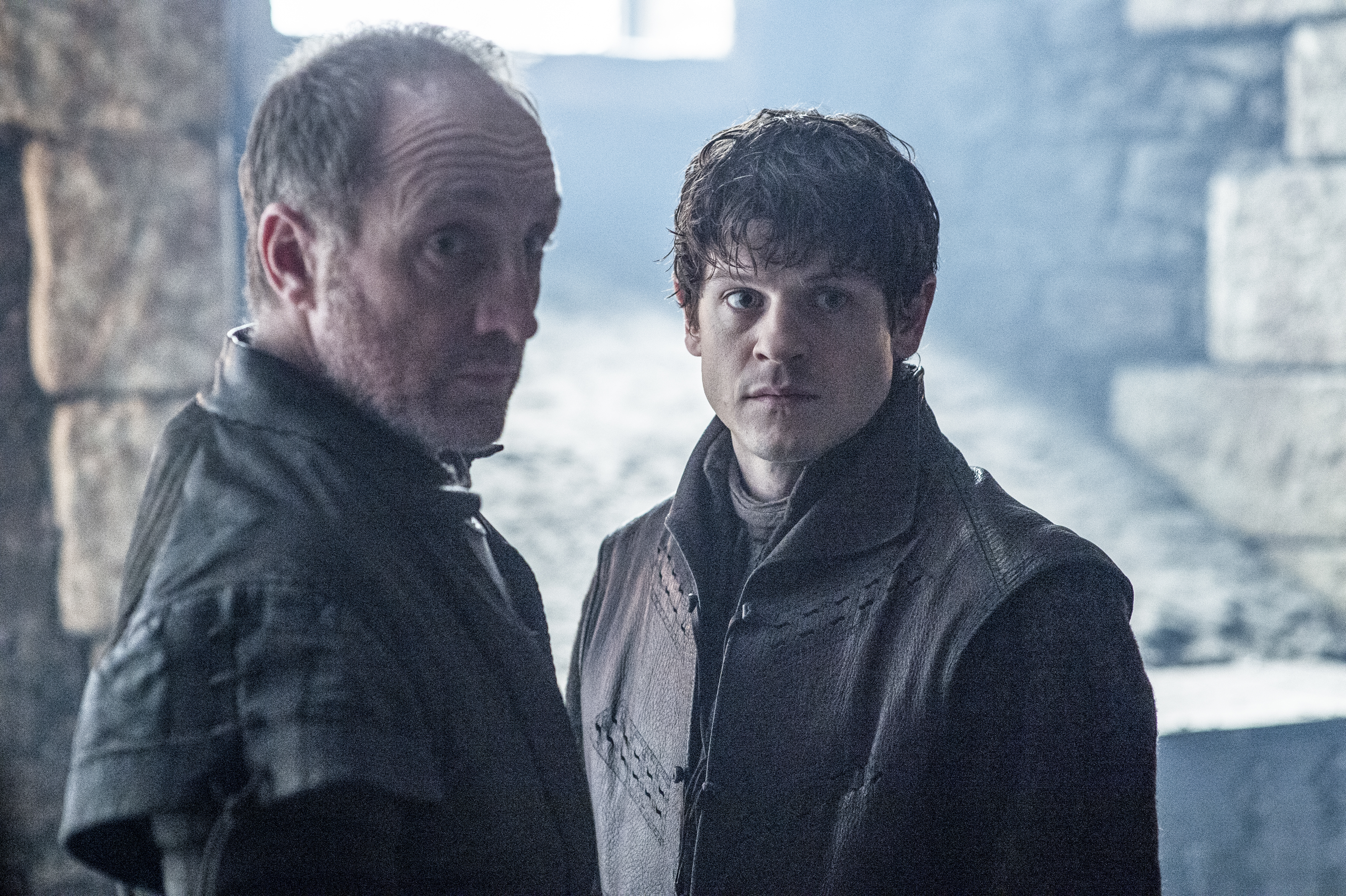 Michael McElhatton as Roose Bolton and Iwan Rheon as Ramsay Bolton. Photo by Helen Sloan/HBO