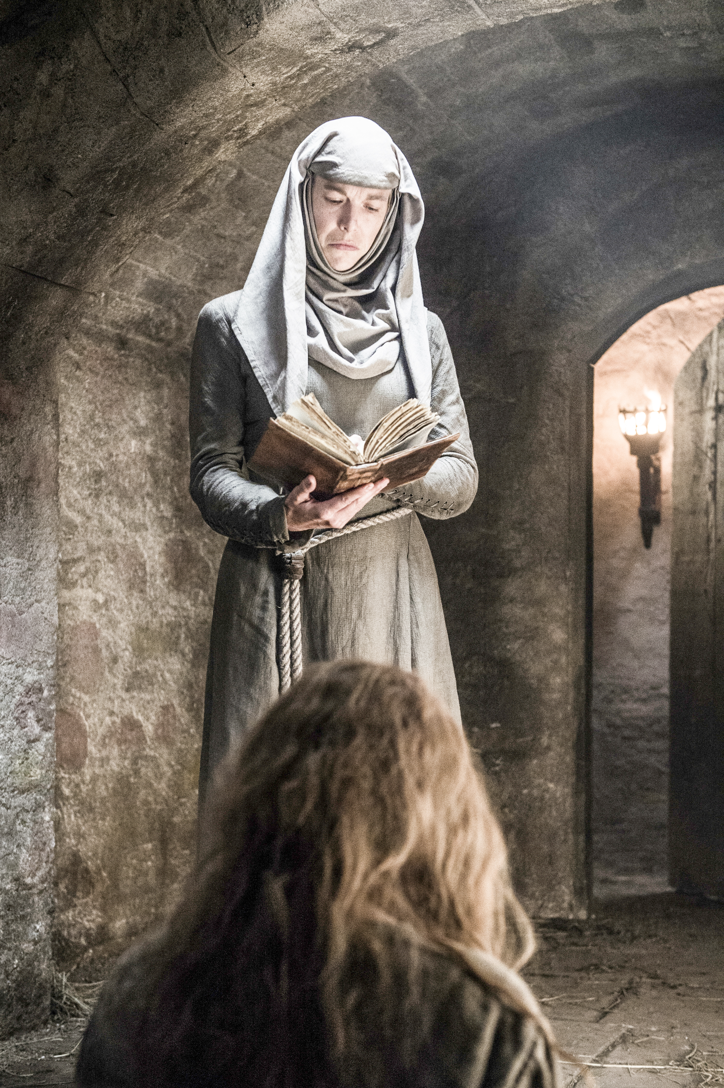 Natalie Dormer as Margaery Tyrell and Hannah Waddingham as Septa Unella. Photo by Helen Sloan/HBO