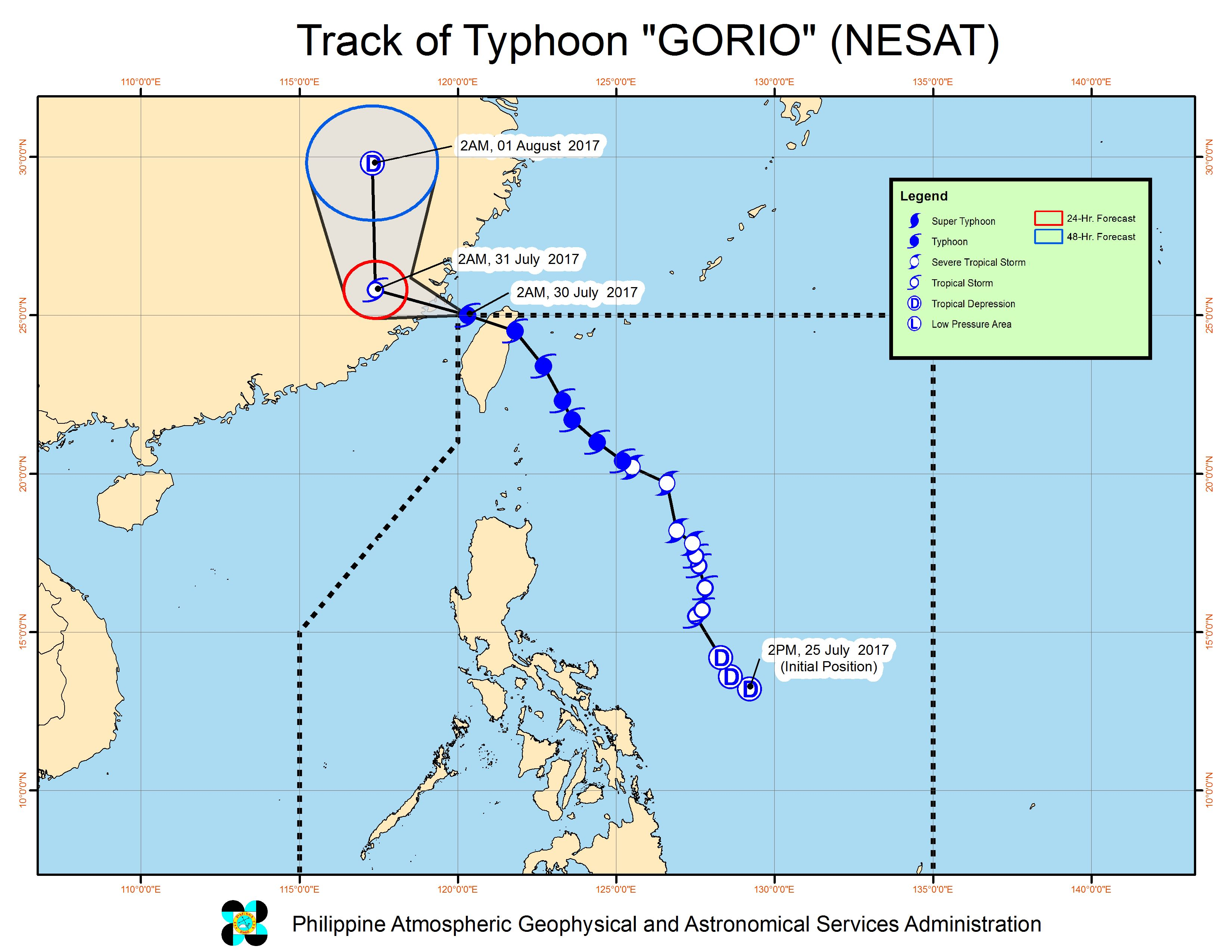 Forecast track of Typhoon Gorio as of July 30, 5 am. Image courtesy of PAGASA