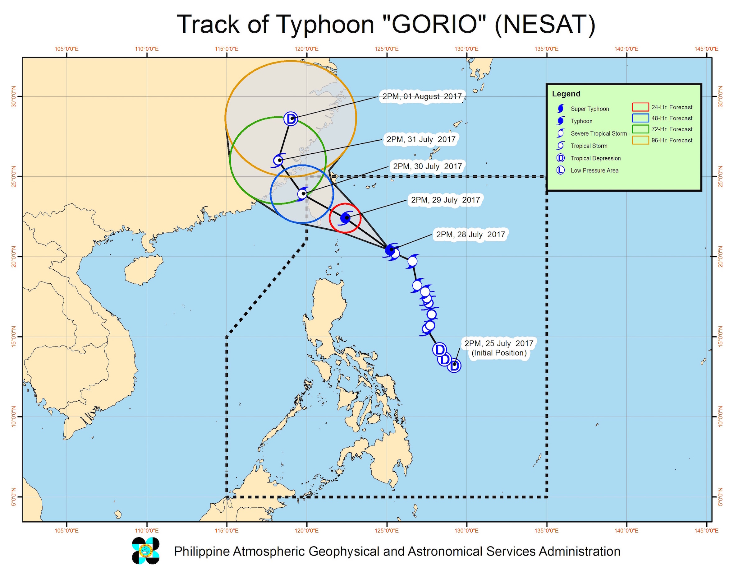 Forecast track of Typhoon Gorio as of July 28, 5 pm. Image courtesy of PAGASA
