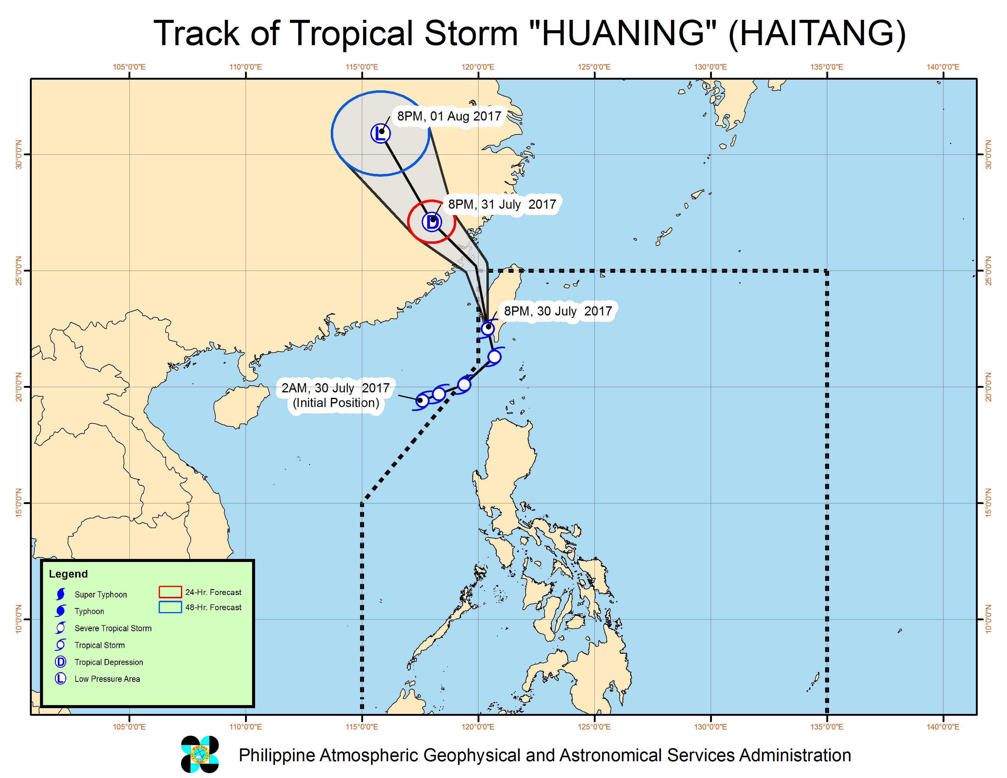 Forecast track of Tropical Storm Huaning as of July 30, 11 pm. Image courtesy of PAGASA