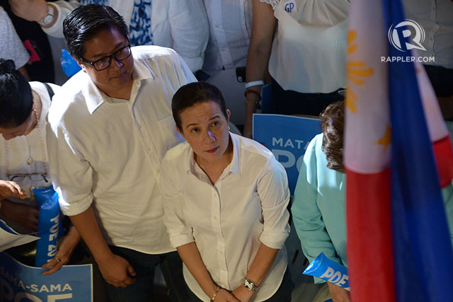 LITTLE KNOWN FACT. Senator Grace Poe and husband Neil Llamanzares at the UP Bahay ng Alumni on September 16, 2015. File photo by Jazmin Dulay/Rappler