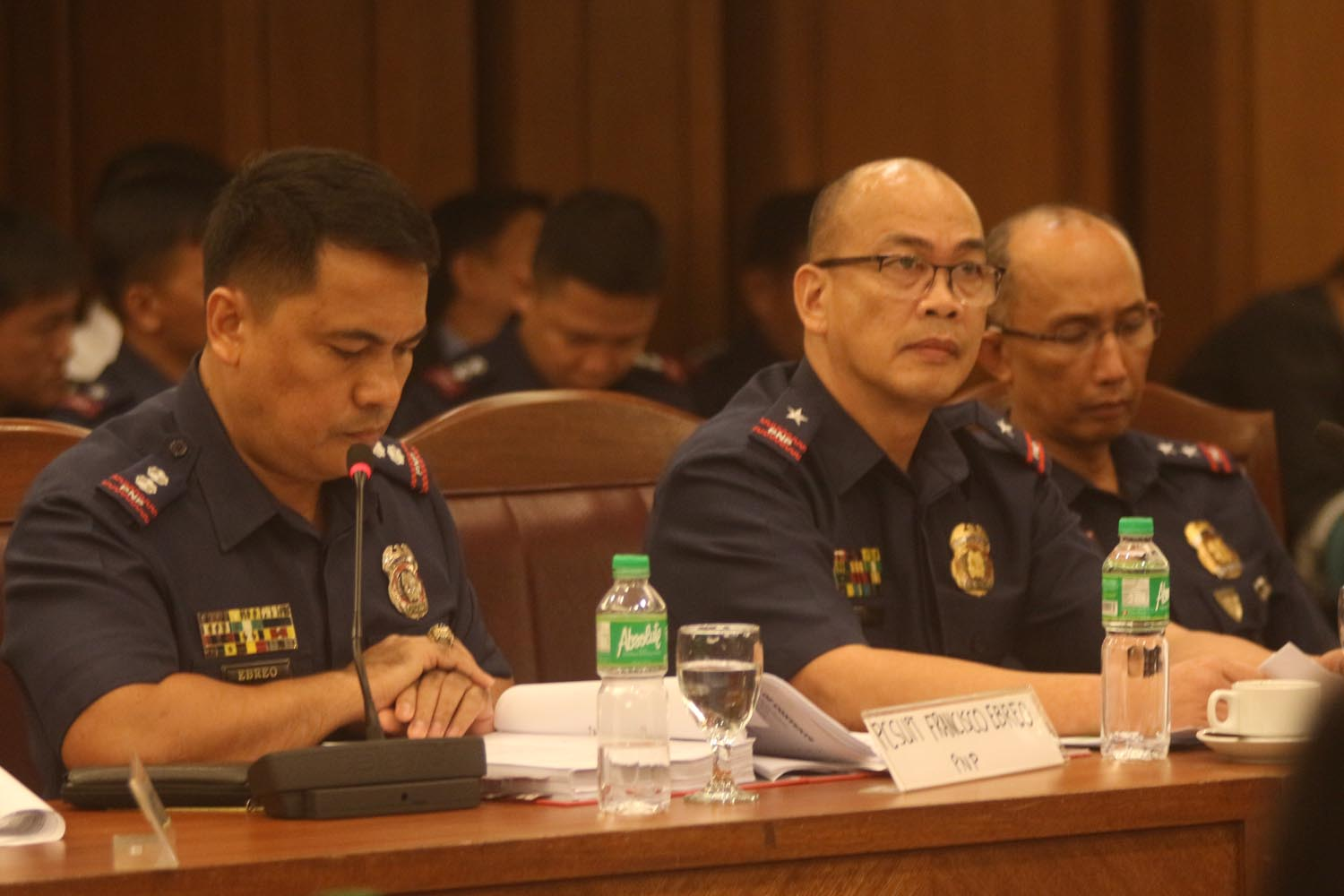 HOUSE PROBE. (Left to right) Police Superintendents Francisco Ebreo and Eliseo Rasco, and Police Superintendent Benjamin Magalong attend a House inquiry on November 16, 2016. Photo by Joel Liporada/Rappler