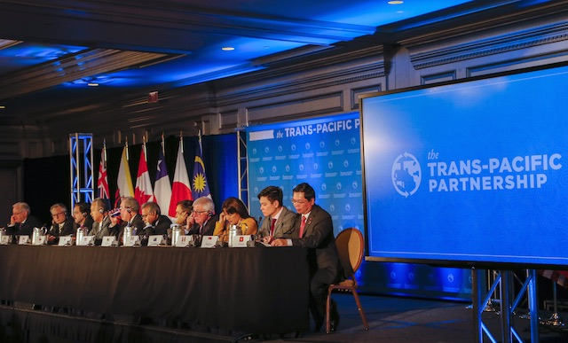 DEAL SEALED. In this file photo, trade ministers from the 12 Trans-Pacific Partnership (TPP) member countries participate in the closing press conference in Atlanta, Georgia, USA, October 5, 2015. File photo by Erik S Lesser/EPA