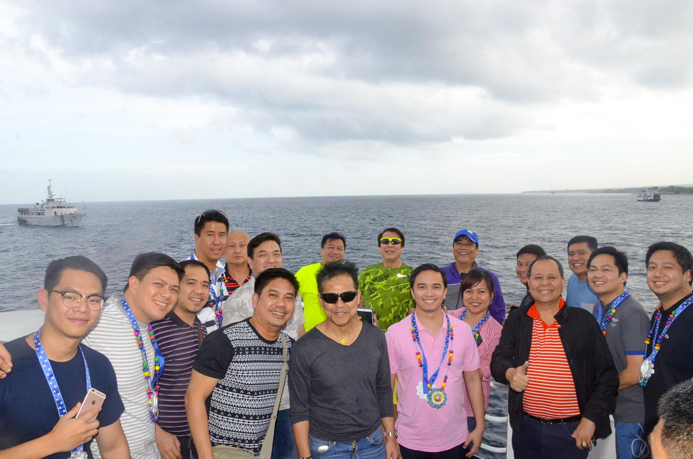 OUT AT SEA. Lawmakers pose for a photo while aboard a vessel during the Western and Eastern Nautical Highway Expedition. All photo from the House of Representatives