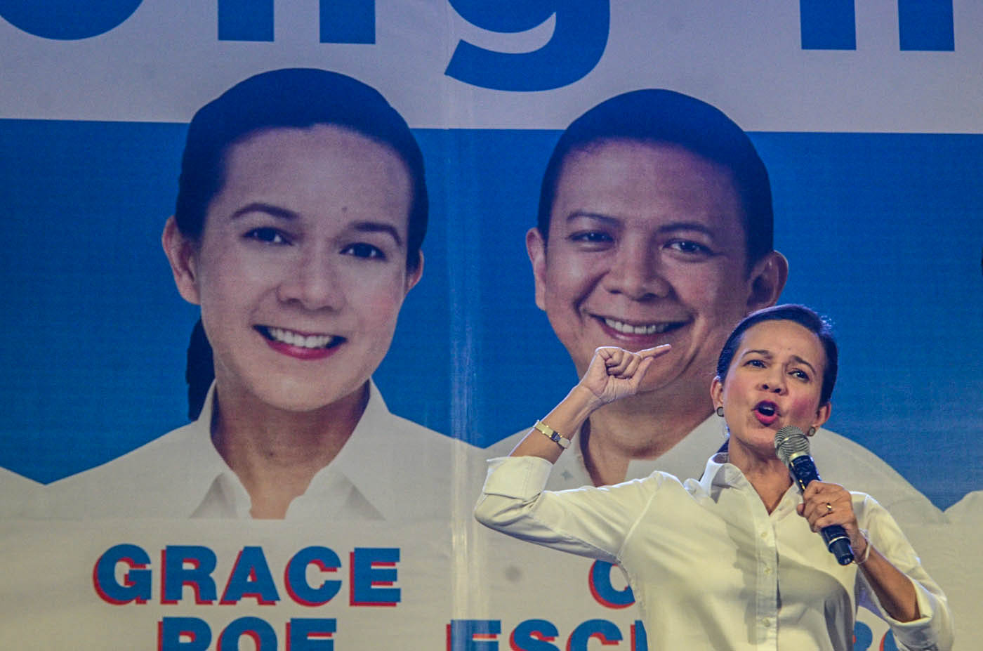 CANDIDATE OR NOT? Senator Grace Poe at the launch of her campaign in Plaza Miranda last week. File photo by Alecs Ongcal/Rappler