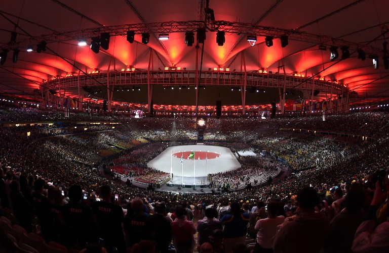A general view shows the closing ceremony of the Rio 2016 Olympic Games at the Maracana stadium in Rio de Janeiro on August 21, 2016. Manan Vatsyayana/AFP