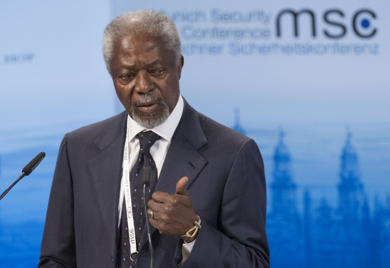 Former Secretary General of the United Nations Kofi Annan speaks at the 52nd Munich Security Conference (MSC) in Munich, southern Germany, on February 14, 2016. Tomas Kienzle/AFP