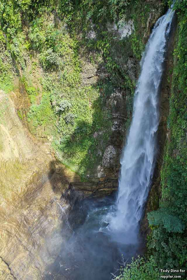 View from the top. One of the 7 waterfalls, been shot while riding a zipline