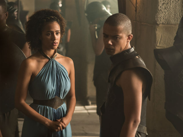 Nathalie Emmanuel as Missandei and Jacob Anderson as Grey Worm. Photo by Helen Sloan/HBO