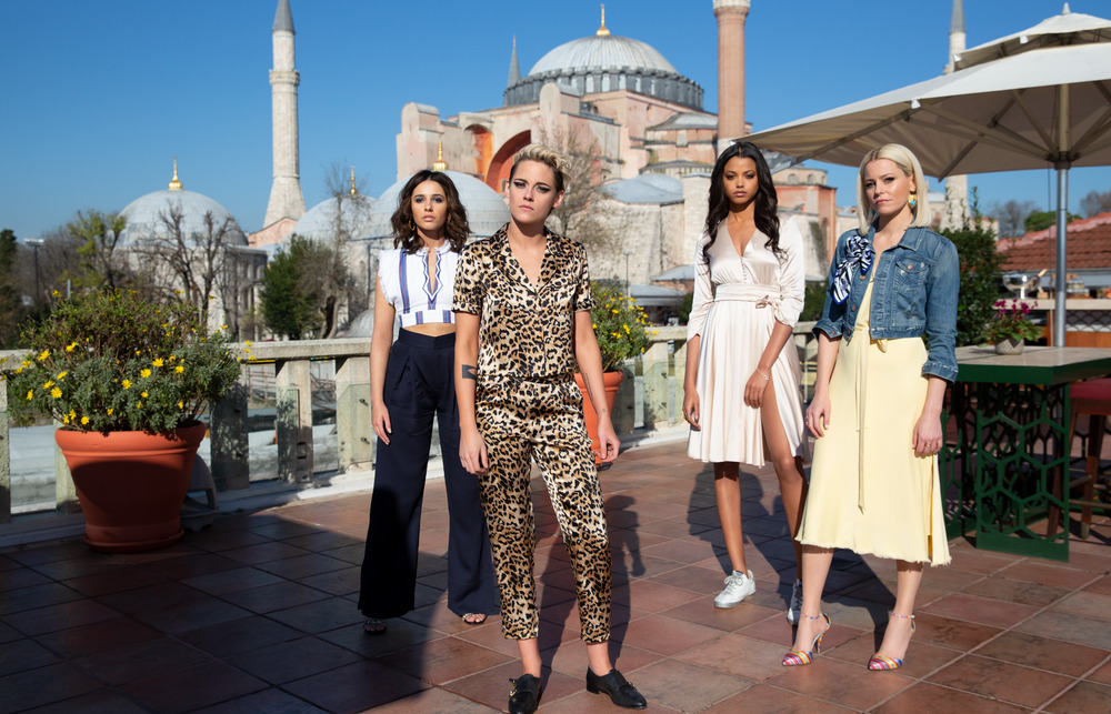 WOMEN ON SCREEN. Kristen Stewart, Naomi Scott, Ella Balinska and Elizabeth Banks star in Charlie's Angels. Photo courtesy of Columbia Pictures