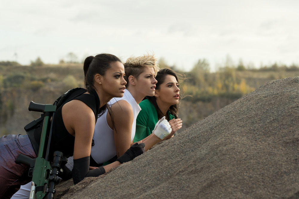 SISTERS. Ella Balinska, Kristen Stewart and Naomi Scott star in Charlie's Angels. Photo courtesy of Columbia Pictures