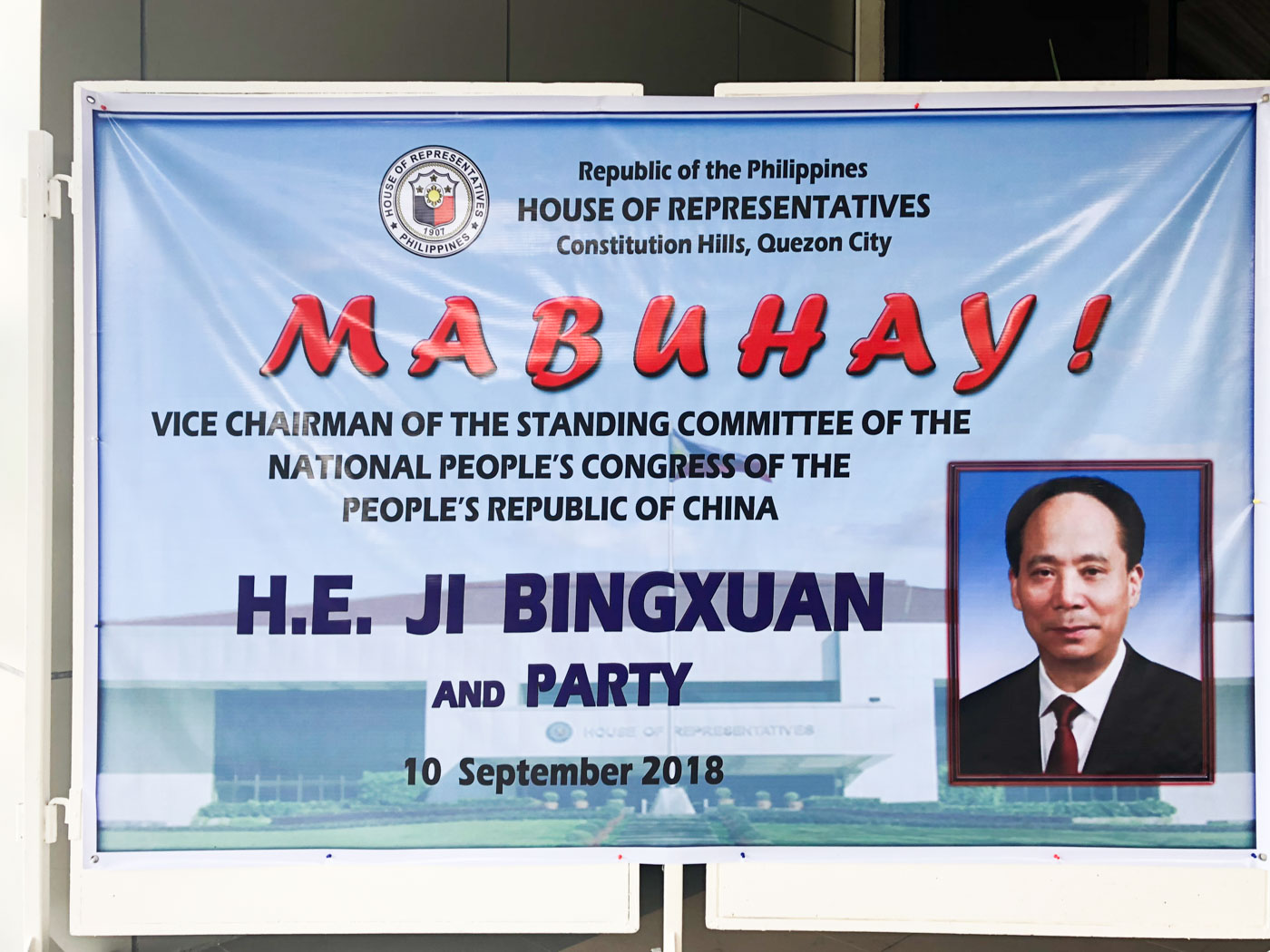 WELCOME. A banner welcomes the Chinese delegation to the House of Representatives. Photo by Mara Cepeda/Rappler