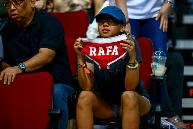 HUGE FAN. It looks like Nadal's supporters brought out all the stops to get his attention. Photo by Josh Albelda/Rappler