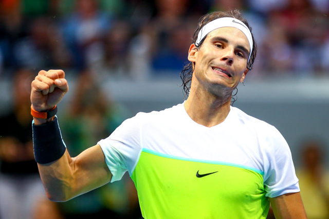 ALL HE DOES IS WIN. Nadal shows off some emotions while in action. Photo by Josh Albelda/Rappler