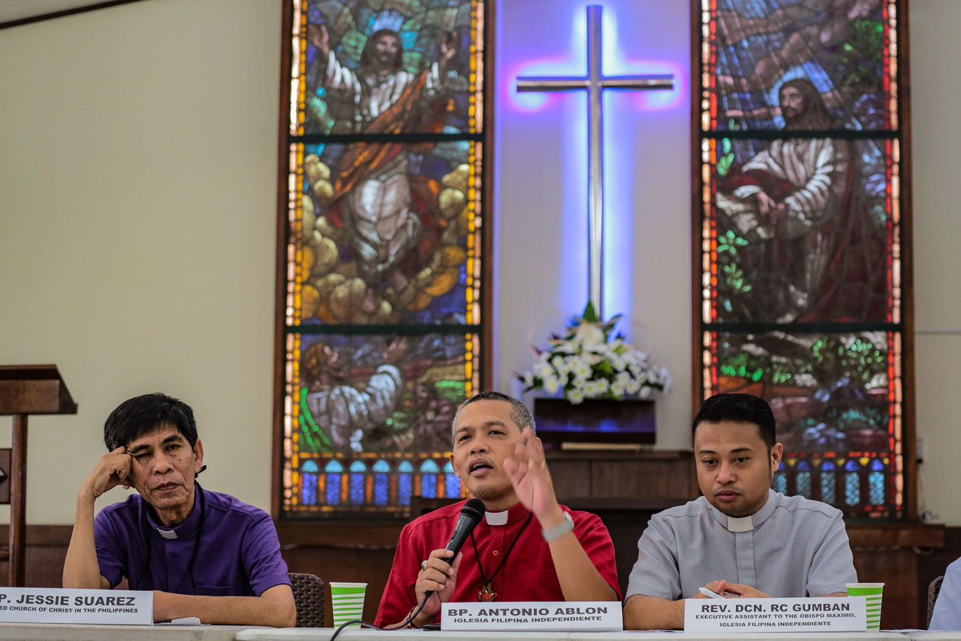 HARASSMENT. Bishop Antonio Ablon of the Iglesia Filipina Independiente recalls harassment and intimidation he was subjected to. Photo by Maria Tan/Rappler